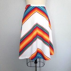 Vintage 70s A-line rainbow skirt
